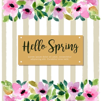 Hello spring with green stripes and floral watercolor