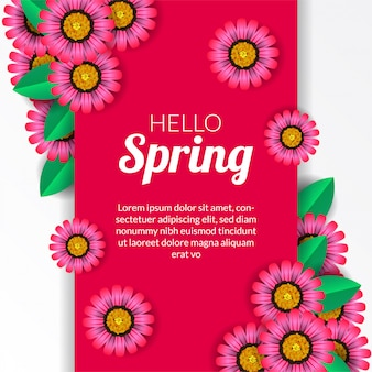 Hello spring with pink flower blossom