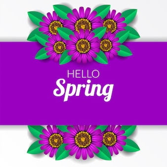 Hello spring with purple flower blossom
