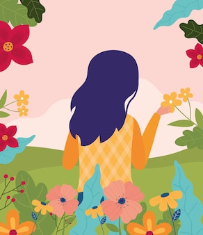 Hello spring woman with flowers grass nature scene season