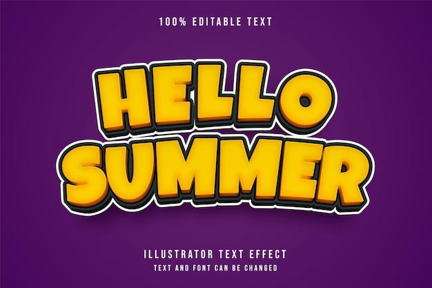 Hello summer, 3d editable text effect.