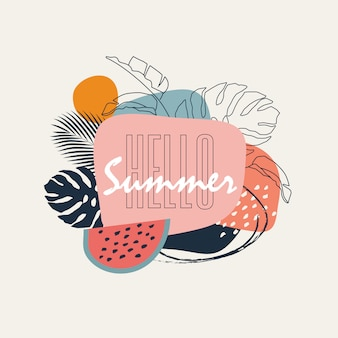 Hello summer. abstract trendy pastel colored banner with geometric shapes and tropical leaves for summer campaign promotion.