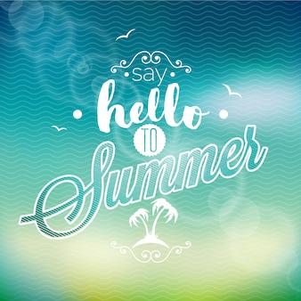 안녕하세요 여름 배경 해변 디자인