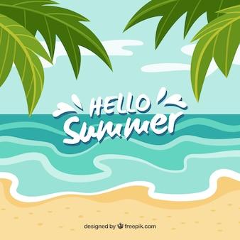 こんにちは夏の背景ビーチデザイン