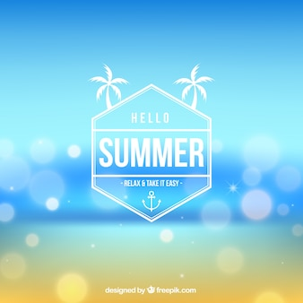 Hello summer background in blurred style