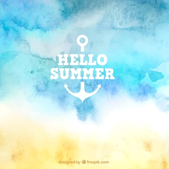 Hello summer background in watercolor style