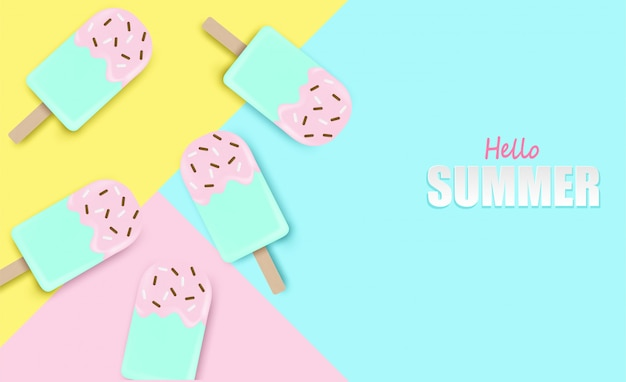 Hello summer background.top view ice cream on colorful pastel background.