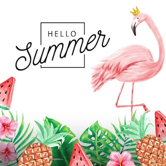 Hello summer background of tropical plants and flamingos