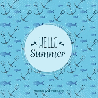 Hello summer background with anchors pattern