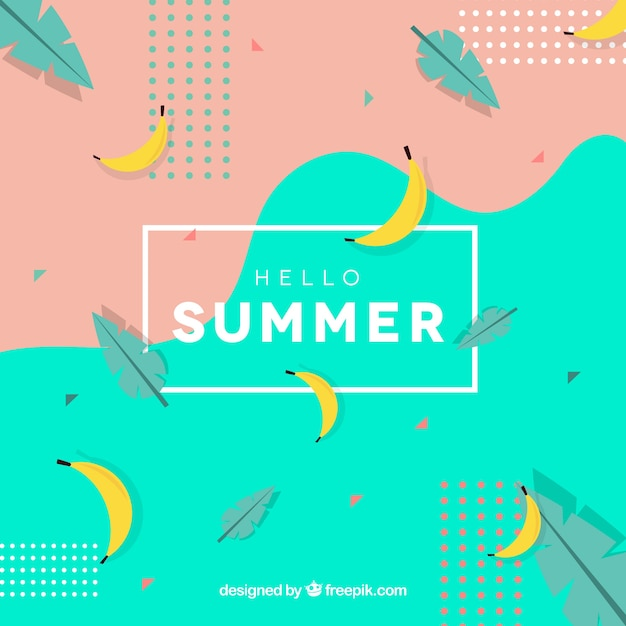 Free Hello summer background with bananas SVG DXF EPS PNG