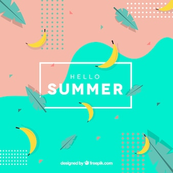 Hello summer background with bananas