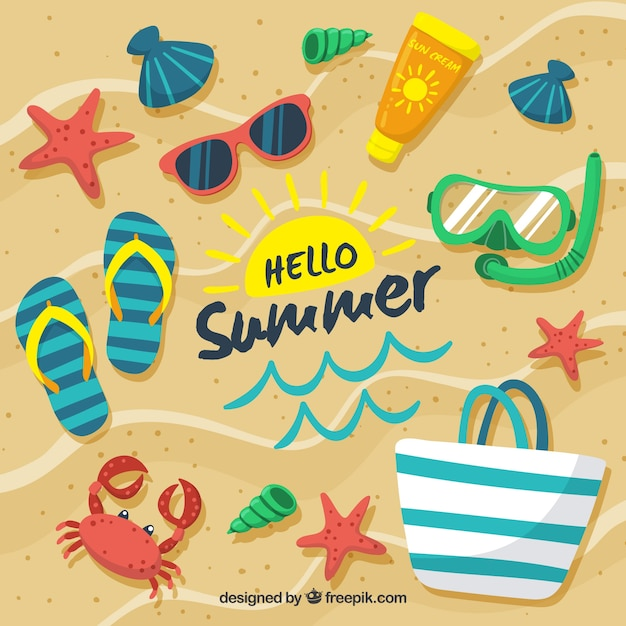 Hello Summer Background With Beach Elements