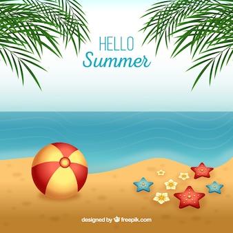 こんにちは、現実的なスタイルのビーチで夏の背景