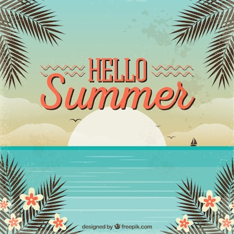 Hello summer background with beach in vintage style