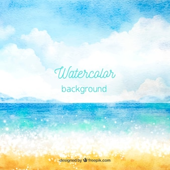 Hello summer background with beach in watercolor style