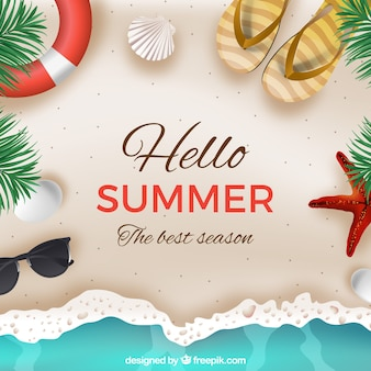 Hello summer background with beach in realistic style