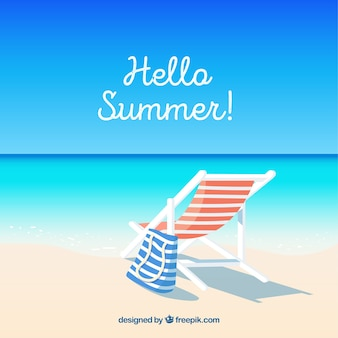 Hello summer background with beach view