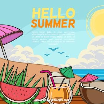 Hello summer background with beach