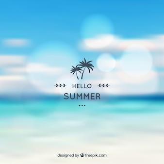 ハロー夏の背景、ぼんやりしたビーチ