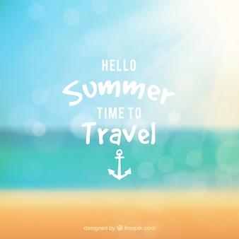 Hello summer background with blurred beach