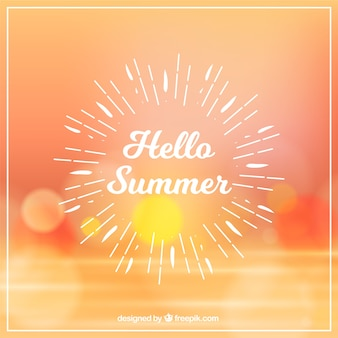 Hello summer background with blurred sunset