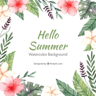 Hello summer background with colorful floral in watercolor style