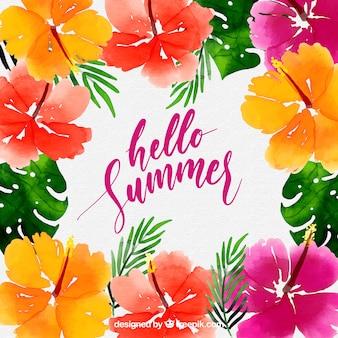 こんにちは夏の背景に水彩スタイルのカラフルな花