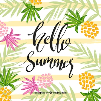 Hello summer background with colorful pineapples