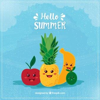 Привет, лето фон с милыми фруктами