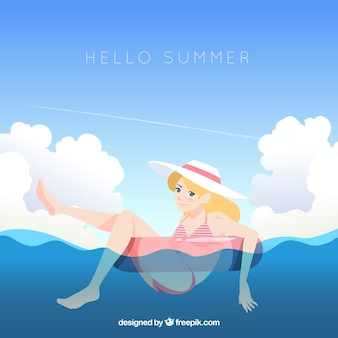 Hello summer background with cute girl