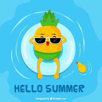 Hello summer background with cute pineapple cartoon
