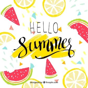 Hello summer background with delicious and fresh fruits