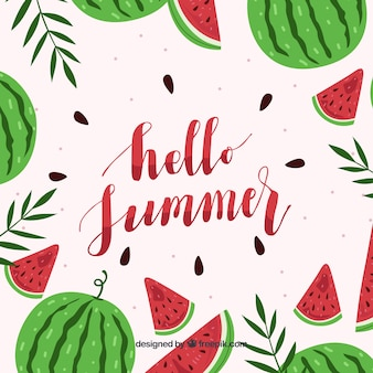 Hello summer background with delicious and fresh watermelons