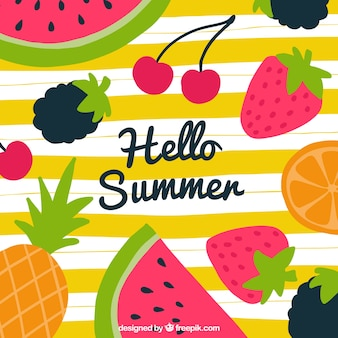 Hello summer background with delicious fruits