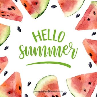 こんにちは夏の背景と水彩色の美しいスイカ
