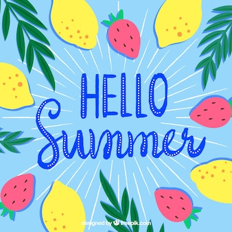Hello summer background with different fruits