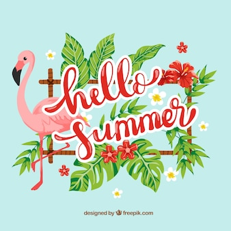 Hello summer background with flamingo and colorful plants