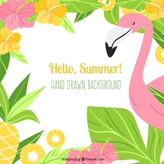 Hello summer background with flamingo and plants