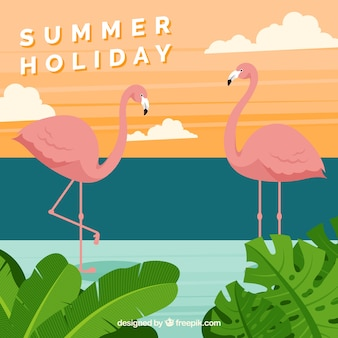 Hello summer background with flamingos