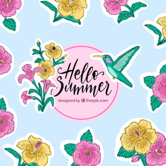 Hello summer background with flowers and hummingbird
