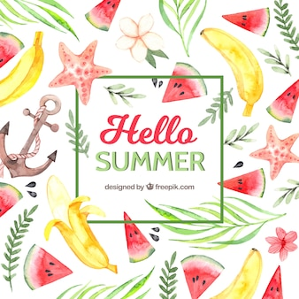 Hello summer background with fruits and plants in watercolor style