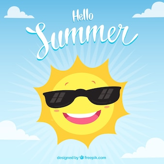 Hello summer background with funny sun