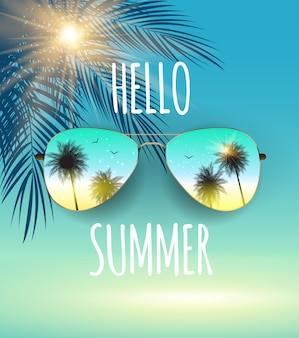 Hello summer background with glass and palm.