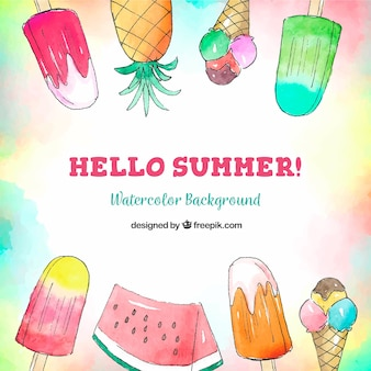 Hello summer background with ice creams and fruits in watercolor style