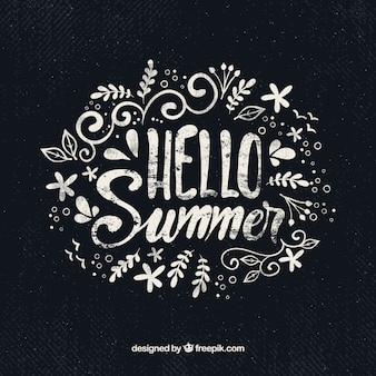 Hello summer background with lettering