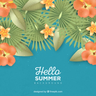 Hello summer background with orange flowers in realistic style