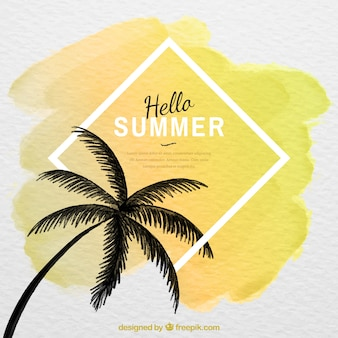 Hello summer background with palm tree silhouette in watercolor style
