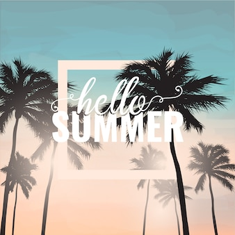 Hello summer background with palm tree