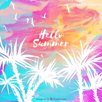Hello summer background with palm trees in watercolor style
