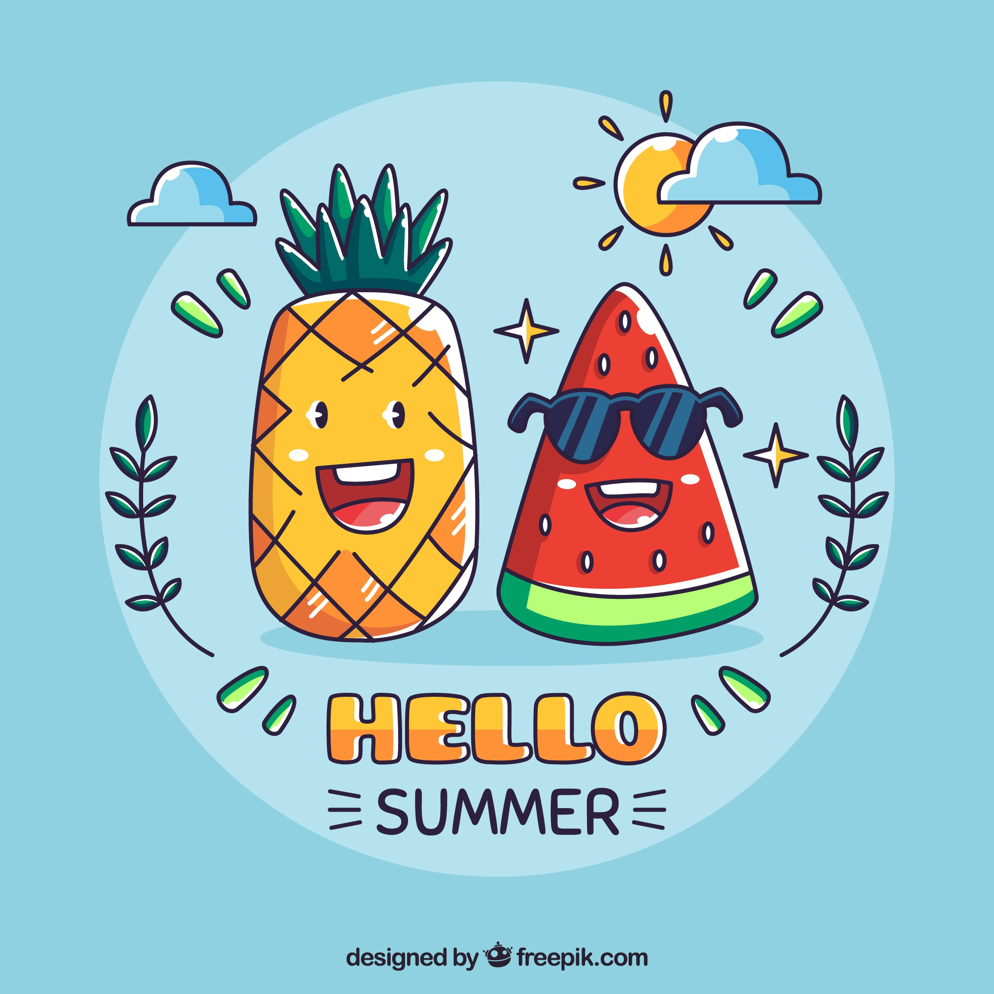 Hello summer background with pineapple and watermelon cartoon